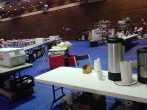 Feeding station at the shelter