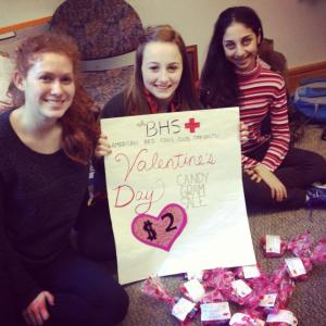 From left, Sara Maiella, Gillian Orlando-Milbauer and Yasmin Siraj of the Brookline High School Red Cross Club.