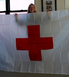 Vanessa O'Brien is taking this flag with her to the North Pole.