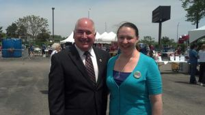 Robert Bowers, director of volunteer services, with Stacy Monahan, who organized the event.