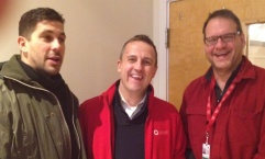 Red Cross of Massachusetts CEO Jarrett Barrios, Disaster Chief Leighton Jones and Nick Herald of the Medical Reserve Corp.